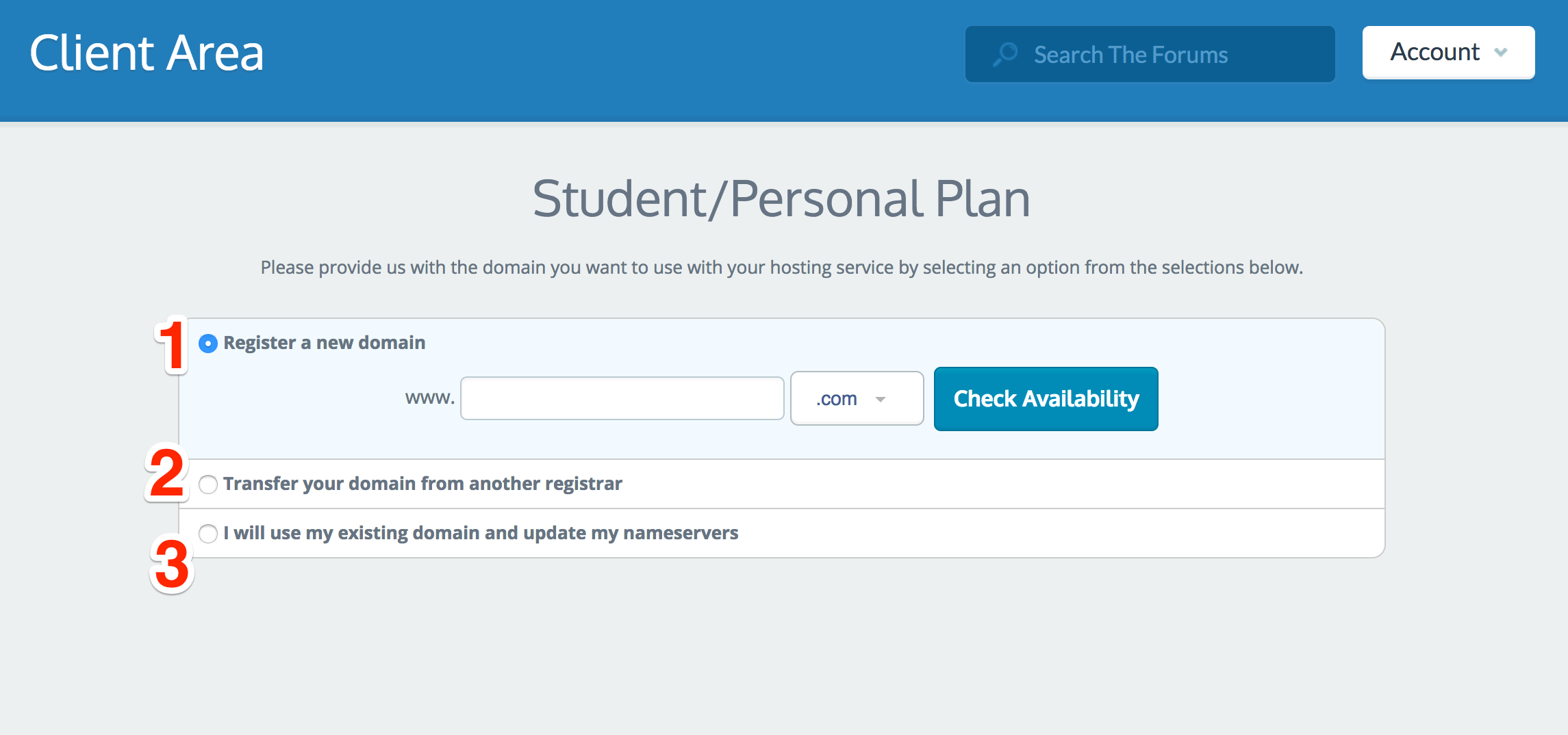 screenshot three options for setting up personal plan