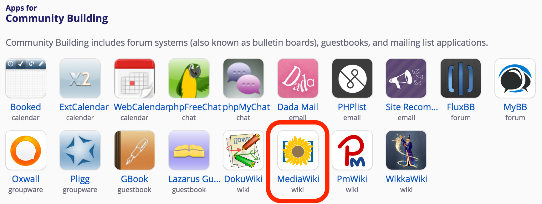 MediaWiki icon within the apps for community building section