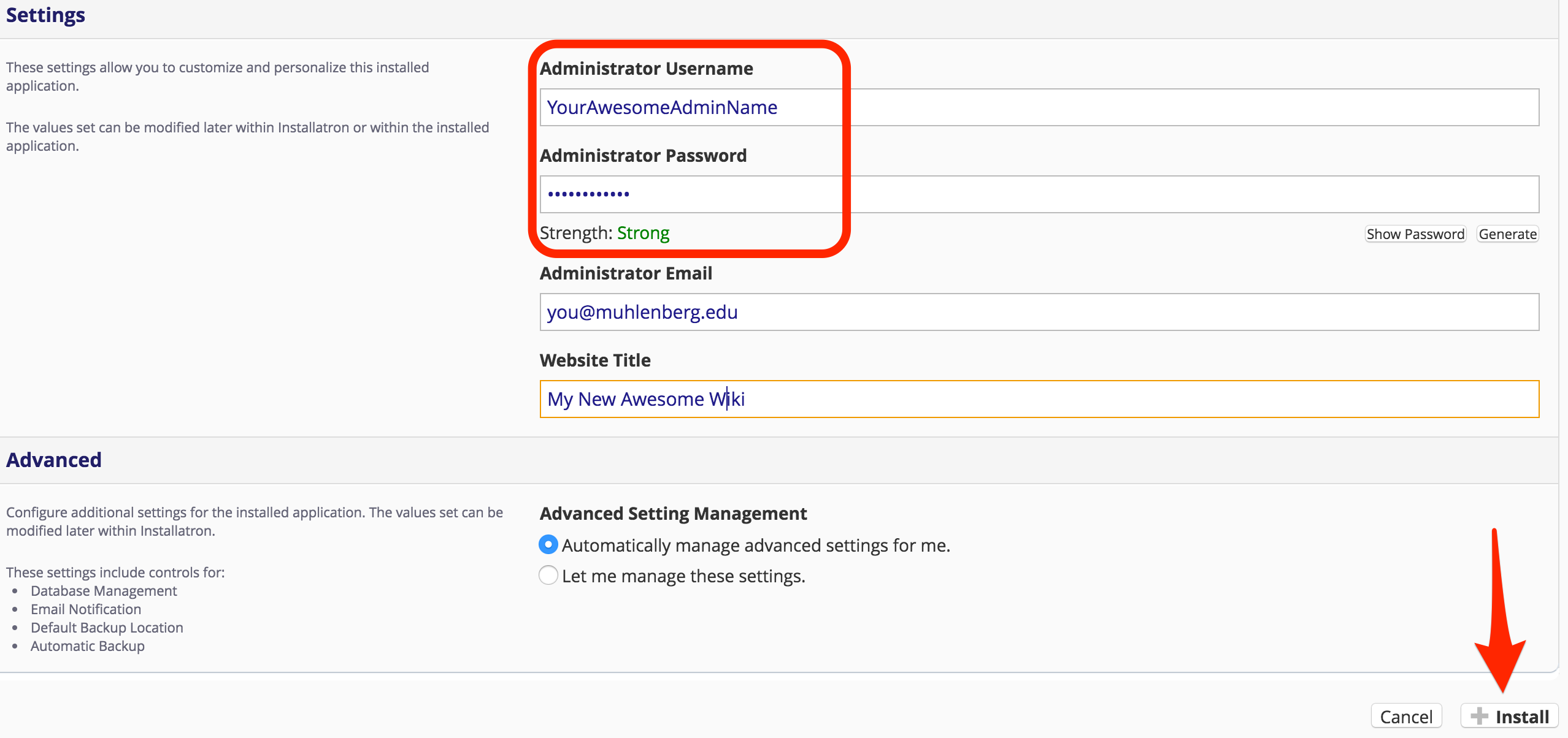 selecting administrative username and password for MediaWiki installation