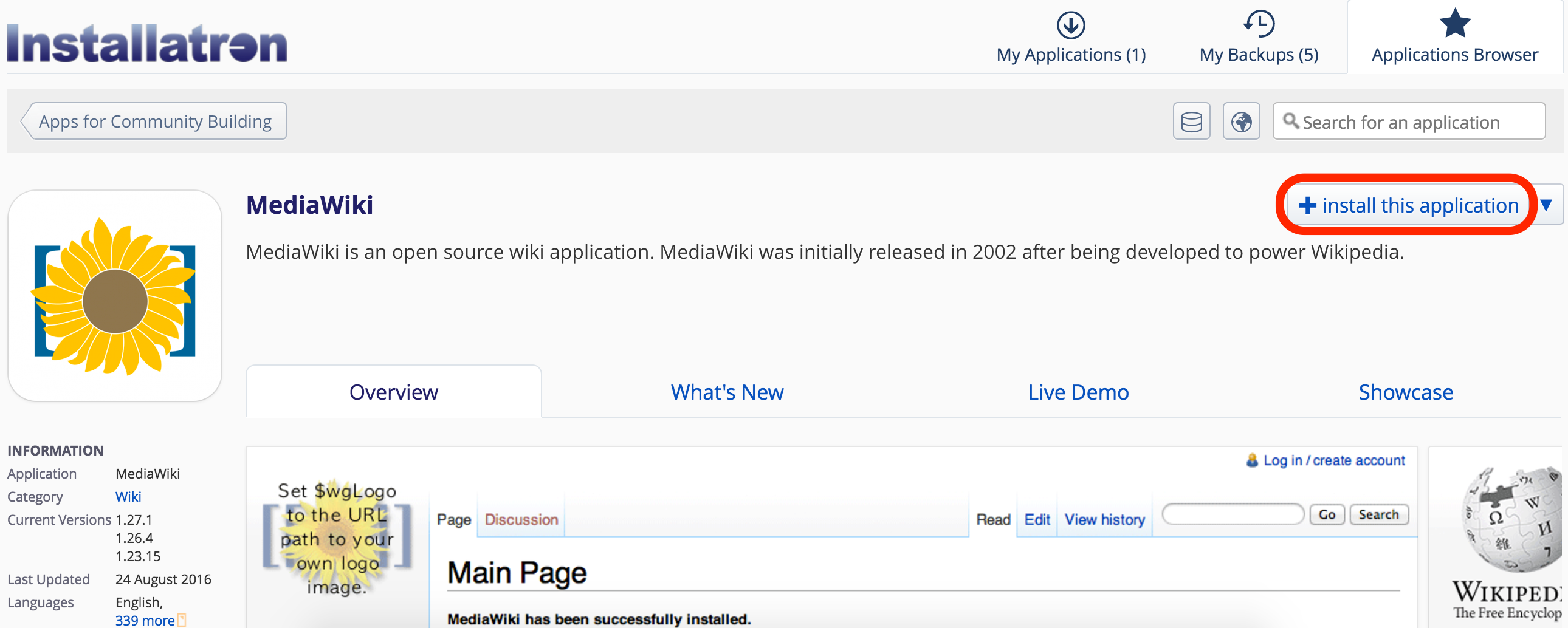 Install button on the Installatron for MediaWiki