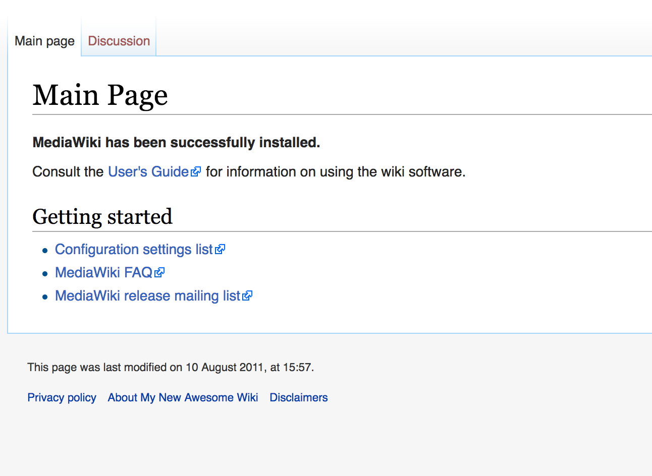 public landing page of new MediaWiki