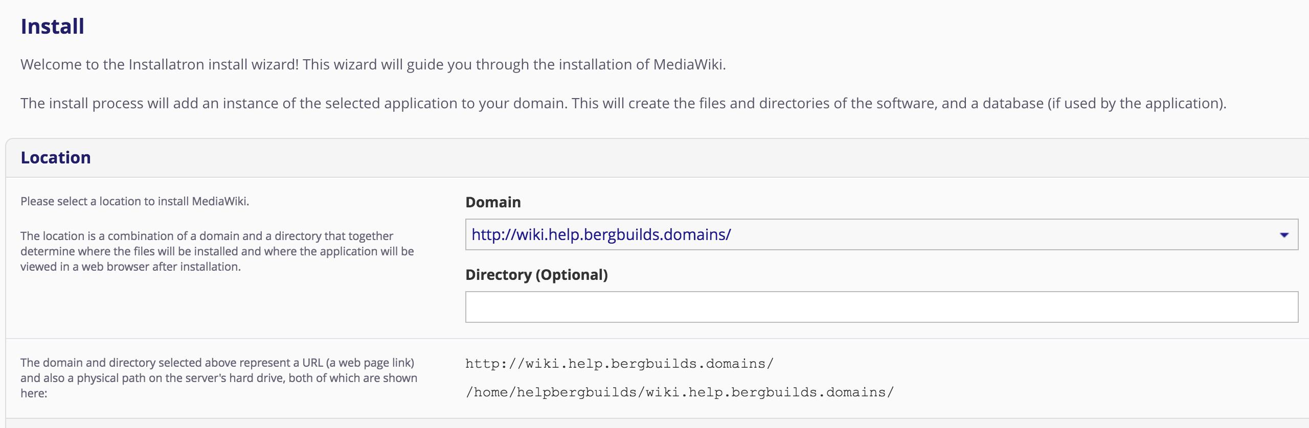 installing into the wiki subdomain