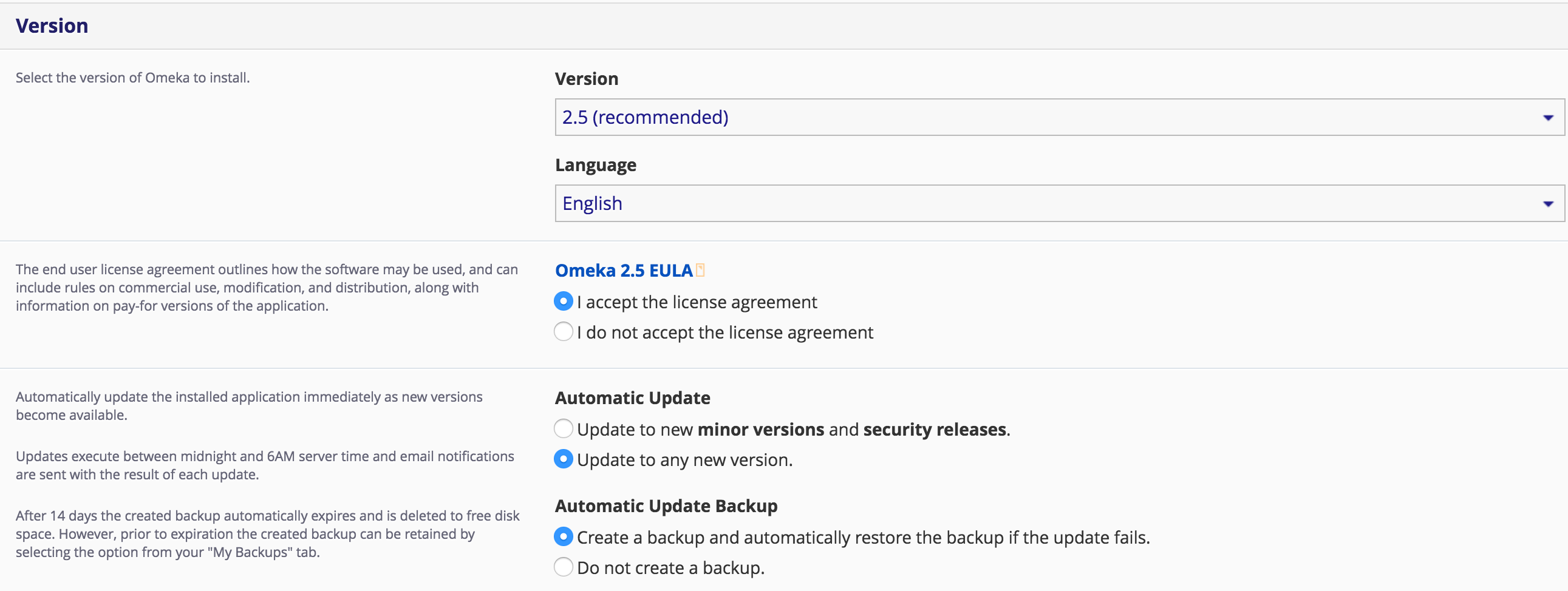 Omeka install accept EULA and defaults