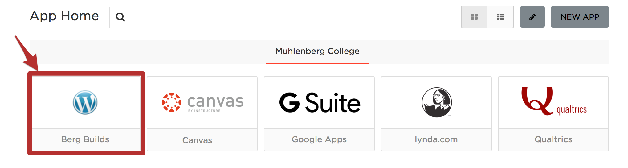 Muhlenberg's One Login Application Portal and Bergbuilds Icon