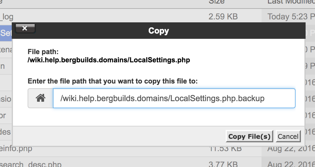 Backing up the LocalSettings.php file before editing it
